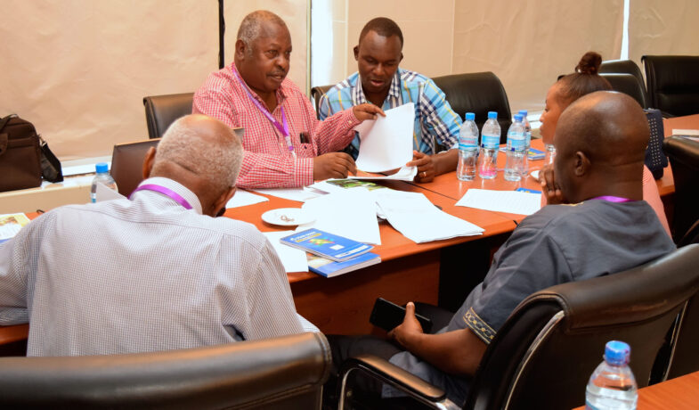 Dr Fulgence Swai from Tumaini University, (Holding a paper) faciliting breakup discussion during the IF workshop