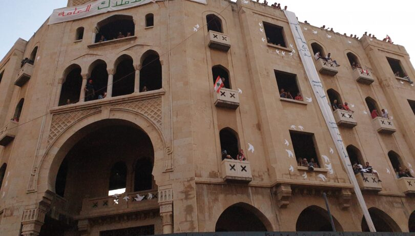 Protestors appropriating the Grand theatre in Beirut during the Oct 17 revolution- Credits (Batoul Yassine, 2019).jpg