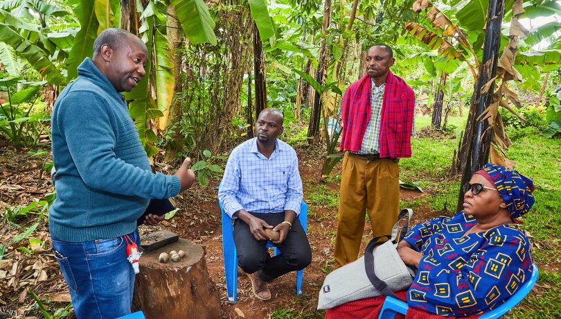 From left to right: Assistant PI (Valence Silayo), PI (Nicholaus Kavishe) and participants from MMEKU Arts Group (Peter Mushi and Zuhura Ali) during a recent group discussion in Rombo district
