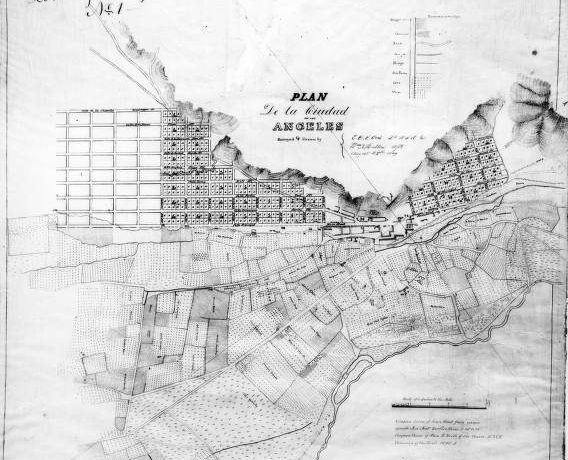 First map of the city of Los Angeles, drawn in August 29, 1849 by E.O.C. Ord.  Photo credit: University of Southern California Libraries and California Historical Society