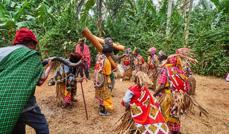 Group of Traditional Dancers from Sango village (MTINGO Group) performing during a recent occasion held in Moshi Rural, Kilimanjaro